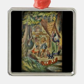 An der Hütte der Hexe Quadratisches Silberfarbenes Ornament