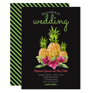 Ananas-Orchideen-Farn-tropische Hochzeit 12,7 X 17,8 Cm Einladungskarte