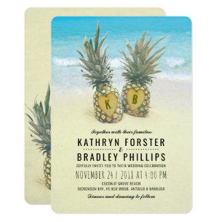 Ananas-tropische Strand-Hochzeit in Urlaubsort 12,7 X 17,8 Cm Einladungskarte