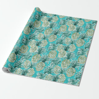 ANANAS-UHR tropisches wunderliches Aquarell Geschenkpapier