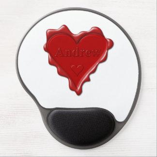 Andrew. Rotes Herzwachs-Siegel mit Namensandrew Gel Mousepad