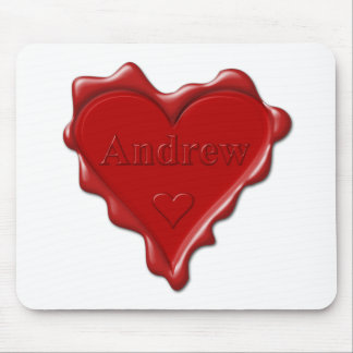 Andrew. Rotes Herzwachs-Siegel mit Namensandrew Mousepads