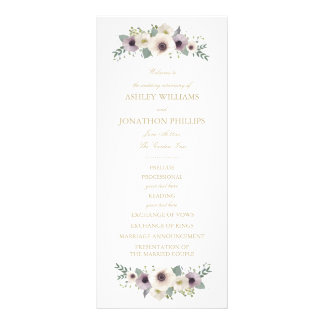Anemonen-Blumenstrauß-Hochzeits-Programm Werbekarte