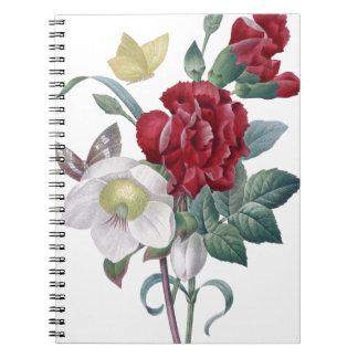 Anemonen- und Gartennelkenblumenstrauß Notizblock