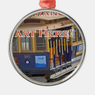 Anfang hier! San Francisco Silbernes Ornament