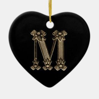 Anfangsherz-geformte Verzierung des Buchstabe-M Keramik Herz-Ornament