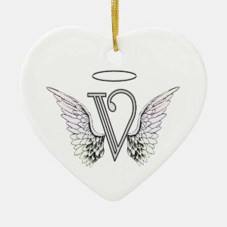 Anfangsmonogramm des Buchstabe-V mit Keramik Herz-Ornament