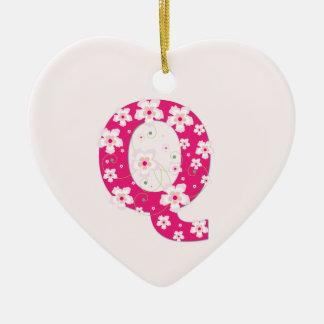 Anfangsq hübsche rosa Blumenverzierung des Keramik Herz-Ornament