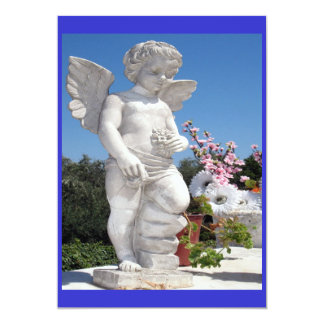 Angel Statue In Blue And White Invites