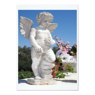 Angel Statue In White Personalized Invitations