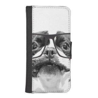 Angesehene französische Bulldogge mit Gläsern iPhone 5 Portmonnaies
