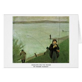 Angler auf dem Rhein durch Macke August Grußkarte