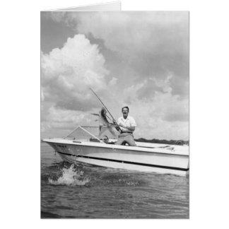 Angler, der einen Tarpon, Marco Insel, Florida lan Grußkarte
