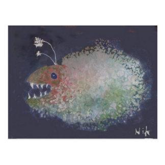 Angler-Fische? Oder ein Klecks mit den Zähnen? Postkarte
