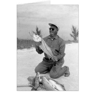 Angler mit Snook und Redfi, Marco Insel, Florida Grußkarte