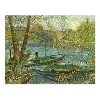 Angler und Boot bei Pont de Clichy durch Van Gogh Postkarte