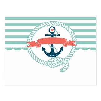Anker, Blau, Rot, Retro nautischseemann girly Postkarte