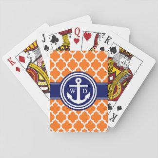 Anker-Marine-Blau 2 Init des Kürbis-orange Spielkarten