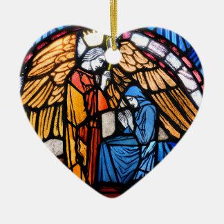 Ankündigungs-und Geburt Christis-Verzierung Keramik Herz-Ornament
