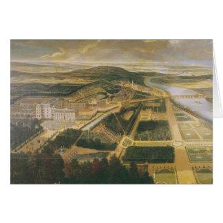 Ansicht des Chateaus und der Gärten von St.-Wolke, Karte