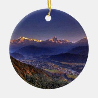 Ansicht-Landschaft: HIMALAJA POKHARA NEPAL Keramik Ornament