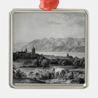 Ansicht von Lausanne Quadratisches Silberfarbenes Ornament