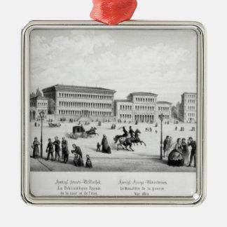Ansicht von München, 1869 Quadratisches Silberfarbenes Ornament