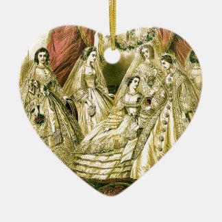 Antike Braut-Vintage Hochzeit Keramik Herz-Ornament