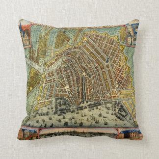 Antike Karte von Amsterdam, die Niederlande, Zierkissen