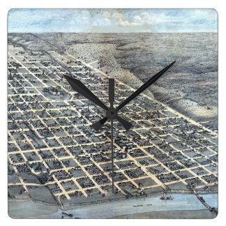 Antike Luftstadt-Karte von Austin, Texas, 1873 Quadratische Wanduhr