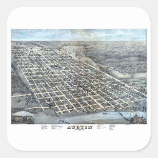 Antike Luftstadt-Karte von Austin, Texas, 1873 Quadratischer Aufkleber