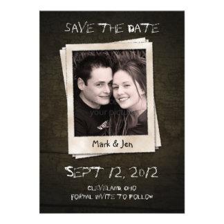 Antike polaroid einzigartige Save the Date Mitteil Personalisierte Einladungen
