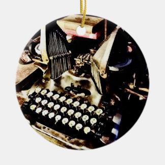 Antike Schreibmaschine Oliver #9 Rundes Keramik Ornament