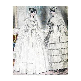 Antike weiße Hochzeits-Kleider Leinwanddruck
