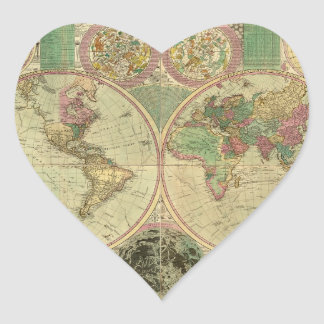 Antike Weltkarte durch Carington Bowles, circa Herz Sticker