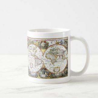 Antike Weltkarte durch Hendrik Hondius, 1630 Kaffeetasse