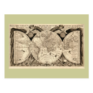 Antike Weltkarte durch Philipp Eckebrecht - 1630 Postkarte