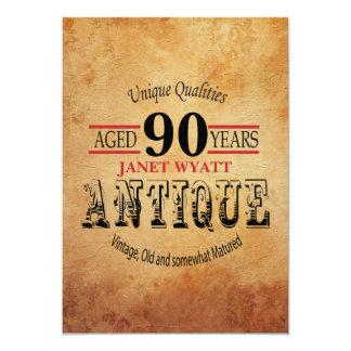 Antiken-90. Geburtstag 12,7 X 17,8 Cm Einladungskarte