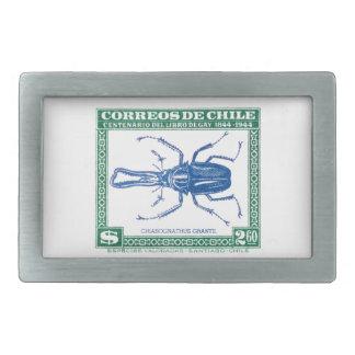 Antiken-Chile-Hirsch-Käfer-Porto-Briefmarke 1948 Rechteckige Gürtelschnalle
