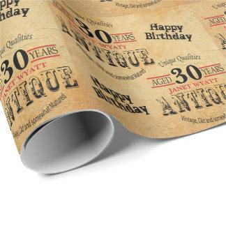 Antiker 30. Geburtstag des Schmutz-Geburtstags-| Geschenkpapier