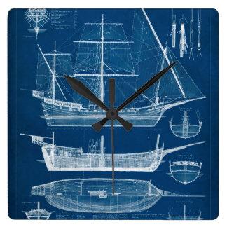 Antiker Schiffs-Plan I Wanduhr