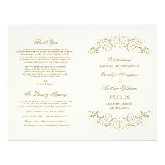 Antikes Gold der Hochzeits-Programm-| blühen Flyer