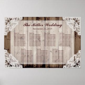 Antikes weißes Spitze-Hochzeits-Sitzplatz-Diagramm Poster