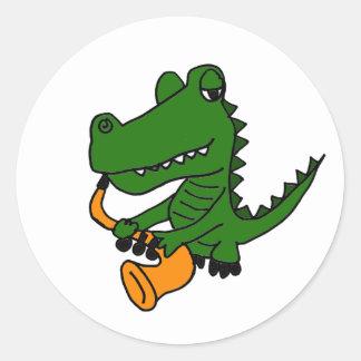 AO, Alligator, der das Saxophon spielt Runder Aufkleber