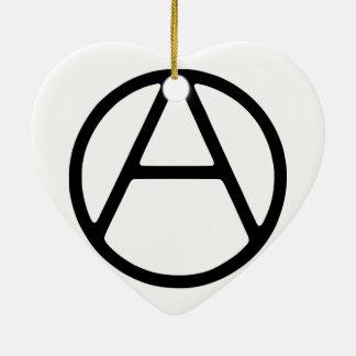 AO-OA schwarzes einfaches Monogramm Keramik Herz-Ornament