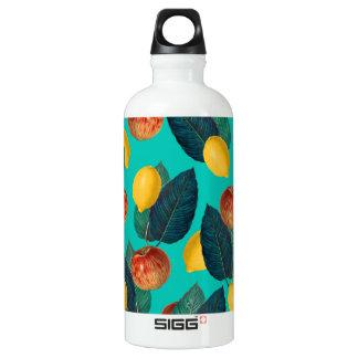 Äpfel und Zitronen aquamarin Wasserflasche
