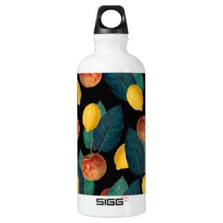 Äpfel und Zitronenschwarzes Wasserflasche