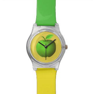 Apfelgrünes gelbes modisches einfaches frisches uhr