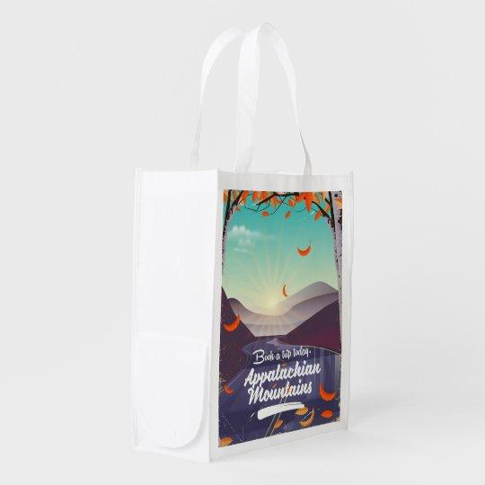 Appalachische GebirgsVintages Reiseplakat Wiederverwendbare Einkaufstasche