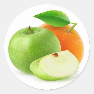 Apple und Orange Runder Aufkleber